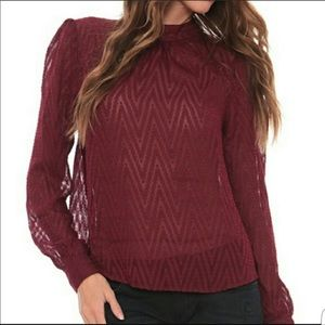 Free People After Midnight Blouse- Burgundy